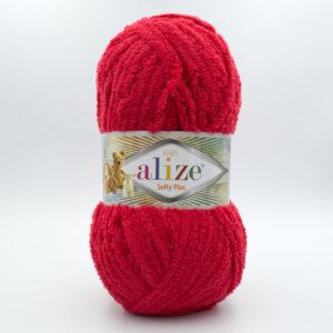 Пряжа плюшевая Alize Softy Plus 56 красный