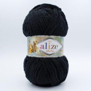 Пряжа плюшевая Alize Softy Plus 60 черный