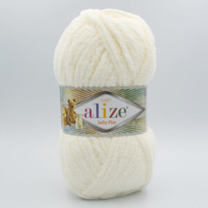 Пряжа плюшевая Alize Softy Plus 62 молочный