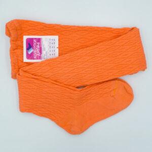 Колготы детские хлопок-стрейч с узором оранжевые