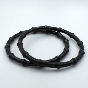 Комплект ручек пластиковых круглых бамбук 14.5 см черные