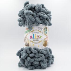 Пряжа плюшевая Alize Puffy 87 серый